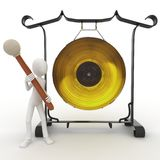 3d man with big gong Stock Images