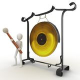 3d man with big gong Stock Image