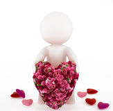 3d man with a big heart. Made of a bouquet of roses. Isolated on white background Royalty Free Stock Images
