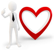 3d man with big red heart, love concept Stock Photo