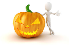 3d man and big scary Halloween pumpkin Stock Images