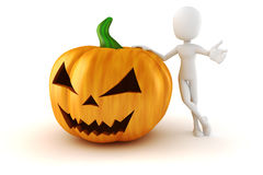3d man and big scary Halloween pumpkin Stock Photo