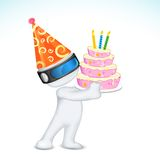 3d Man with Birthday Cap and Cake Royalty Free Stock Photo