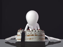 3d man blowing on a candle. Of a big cake Royalty Free Stock Photo