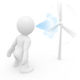 3D man blowing wind turbine Stock Photography