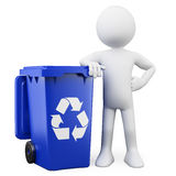 3D man with a blue bin. 3D man showing a blue bin for recycling. Rendered on a white background with diffuse shadows stock illustration