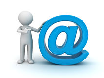 3d man and blue email sign Royalty Free Stock Photos