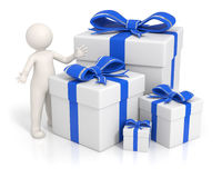 3d man - Blue gift boxes. 3d man presenting the blue gift boxes - Isolated Stock Photo