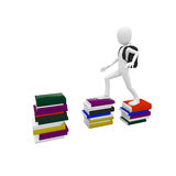 3d man with books Stock Photography