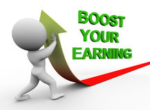 3d man boost you earning. 3d illustration of person pushing arrow upward representing conept of boosting earning Stock Photos