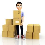 3D man with boxes Stock Photos
