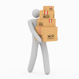 3D Man & Boxes Royalty Free Stock Photography