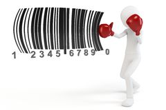 3d man boxing  barcodes concept. On white background Royalty Free Stock Image