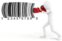 3d man boxing  barcodes concept. On white background Stock Photos