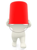 3D man with bucket on head Royalty Free Stock Image