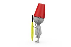 3d man bucket on head concept Royalty Free Stock Image