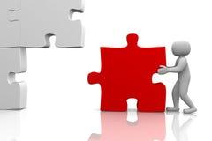 3d man building a 3d puzzle royalty free stock images