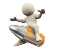 3d man bullet ride Stock Photos