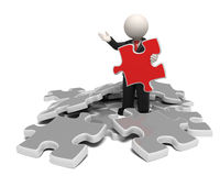 3d man in business costume found solution puzzle Royalty Free Stock Photography