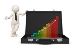 3d man - Business growth presentation. 3d man presents business growth in a 3d graph placed in his briefcase - Isolated Stock Image