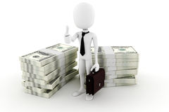 3d man business man and a lot of money Stock Photos