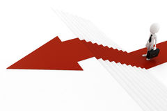 3d man business man on red arrow going up. 3d man on red arrow going up Stock Image