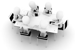 3d man, business meeting-isolated on white stock illustration