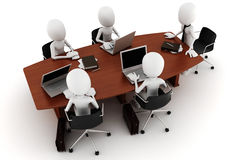 3d man business meeting - on white Stock Images