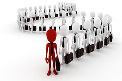 3d man business men following the leader. On white back ground Stock Image