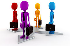3d man business men and silver arrow. On white Stock Photo