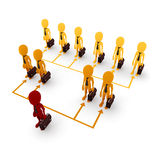 3d man business network. On white background Stock Photos