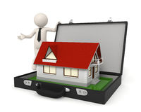 3d man business presentation - House. 3d business man presenting a house - Isolated Stock Photo