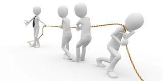 3d man business with rope. 3d man business boss pulling a rope Stock Image