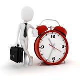 3d man businessman and an alarm clock Stock Image