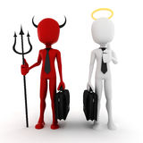 3d man businessman angel and demon. Concept royalty free illustration
