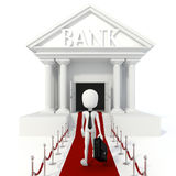 3d man businessman and bank building Stock Images