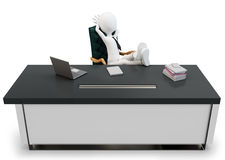 3d man businessman at desk Royalty Free Stock Image