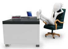 3d man businessman at desk Stock Images
