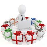 3d man businessman with gift boxes Royalty Free Stock Images