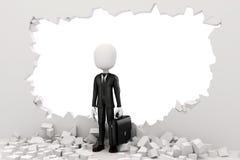 3d man businessman going through a wall Stock Image