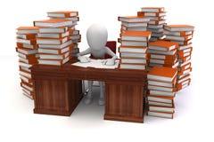 3d man businessman and a lot of work. Metaphor Stock Images