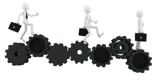 3d man businessman running with gears. On white Stock Photos
