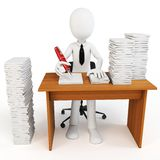 3d man businessman with tons of work to do. On white background Royalty Free Stock Photo