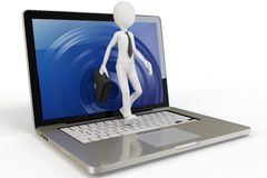 3d man businessman walking out of laptop Stock Image
