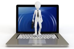 3d man businessman walking out of laptop. On white background Royalty Free Stock Photo