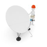 3d man cable guy with satellite dish Stock Image