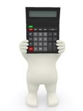 3D man with a calculator Royalty Free Stock Images