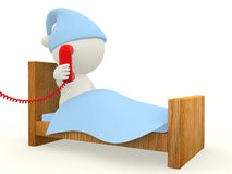 3D man calling from bed Stock Photography