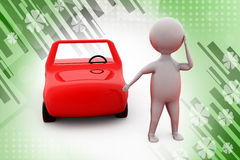 3d man with car  illustration Royalty Free Stock Image