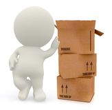 3D man with card board boxes Royalty Free Stock Photos